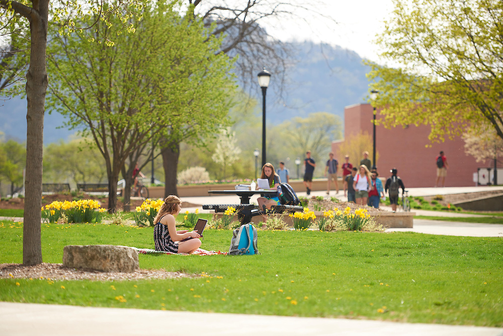 Activity; Studying; Relaxing; Buildings; Bluffs; Cartwright; Location; Outside; Objects; Computer; People; Woman Women; Student Students; Spring; April; Time/Weather; sunny; Type of Photography; Candid; UWL UW-L UW-La Crosse University of Wisconsin-La Crosse