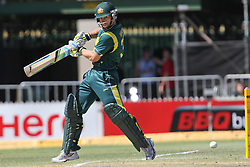 © Licensed to London News Pictures. 08/03/2012. Adelaide Oval, Australia. Australian Batsmen Matthew Wade plays a cut shot into the ground during the One Day International cricket match final between Australia Vs Sri Lanka. Photo credit : Asanka Brendon Ratnayake/LNP