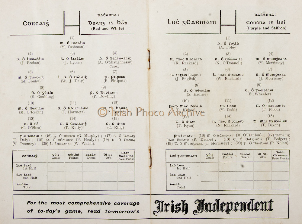 GAA All Ireland Hurling Finals up to 1970,.Brochures, Championship Final,.23.09.1956, 09.23.1956, 23rd September 1956,.Minor Kilkenny v Tipperary, .Senior Cork v Wexford,..Cork, M. Cashman, J. Brohan, J. Lyons, A. O'Shaughnessy (Capt.), M. Fouhy, W. J. Daly, P. Philpott, E. Goulding, P. Dowling, M. O'Regan, J. Hartnett, P. Barry, C. O'Shea, T. Kelly, C. Ring, Subs, G. Murphy, J. Daly, P. Healy, V. Twomey, W. Walsh,..Wexford, A. Foley, R. Rackard, N. O'Donnell, M Morrisson,  J English, W. Rackard, J. Morrissey, S Hearne, E Wheeler, P Kehoe, M Codd, T Flood, T Ryan, N Rackard, T Dixon, M O'Hanlon, P Kehoe, T Bolger, T Morrissey, P Nolan,..Advertisement, Irish Independent,
