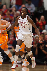 Dec 20, 2011; Stanford CA, USA;  Stanford Cardinal forward Chiney Ogwumike (13) celebrates after a basket against the Tennessee Lady Volunteers during the first half at Maples Pavilion.  Mandatory Credit: Jason O. Watson-US PRESSWIRE