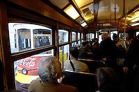 03 JAN 2006, LISBON/PORTUGAL:<br /> Waehrend einer Fahrt mit einer der fast historischen Strassenbahnen durch die alten Stadtteile der Stadt Lissabon<br /> During a ride with the old streetcars through the  historical districts of the city of Lisbon<br /> IMAGE: 20060103-01-003<br /> KEYWORDS: Lisboa, Reise, travel, Europa, europe, Strassenbahn, Stra&szlig;enbahn, Fahrer, driver, Nahverkehr, Bahn, Passagier, passenger, streetcar, tram, tramline