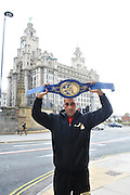 15.OCTOBER.2011. LIVERPOOL<br /> <br /> BRITISH BOXER JAMES DEGALE MBE WHO WON THE EUROPEAN SUPER MIDDLEWEIGHT AGAINST POLISH BOXER PIOTR WILCZEWSKI AT THE ECHO ARENA, POSES WITH HIS BELT IN LIVERPOOL.<br /> <br /> BYLINE: EDBIMAGEARCHIVE.COM<br /> <br /> *THIS IMAGE IS STRICTLY FOR UK NEWSPAPERS AND MAGAZINES ONLY*<br /> *FOR WORLD WIDE SALES AND WEB USE PLEASE CONTACT EDBIMAGEARCHIVE - 0208 954 5968*