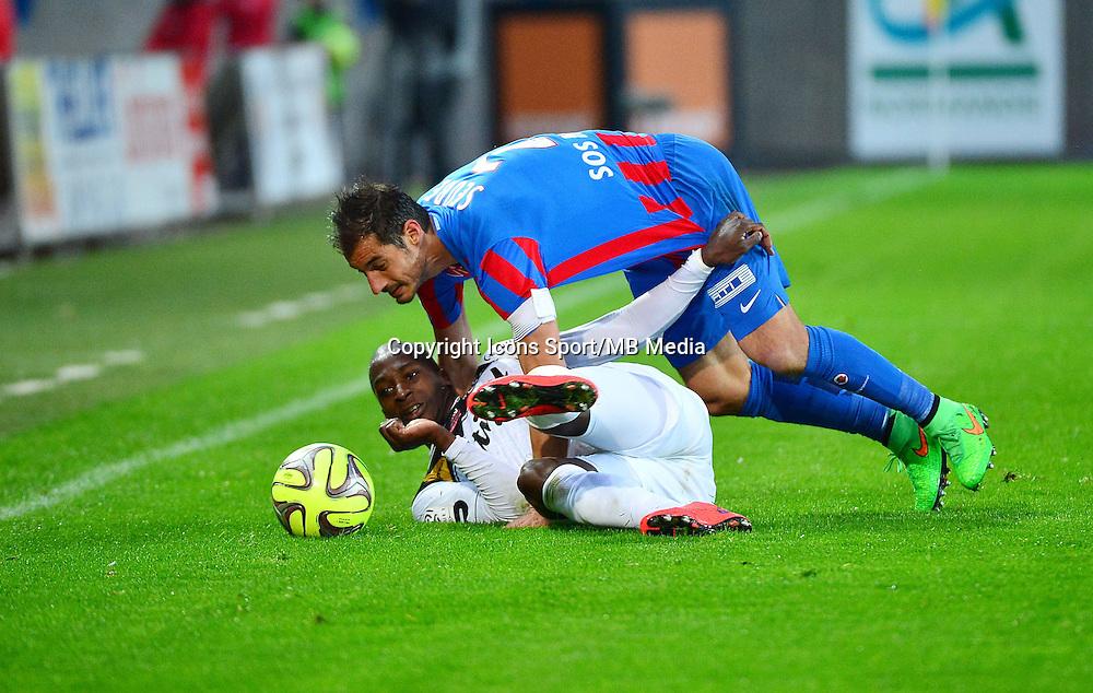 Nicolas SEUBE / Younousse SANKHARE - 25.04.2015 - Caen / Guingamp - 34eme journee de Ligue 1<br /> Photo : David Winter / Icon Sport