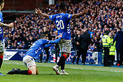 Alfredo Morelos of Rangers makes it 3-1 and celebrates in front of the home fans along with Andy Halliday during the Ladbrokes Scottish Premiership match between Rangers and Motherwell at Ibrox, Glasgow, Scotland on Sunday 11th November 2018.