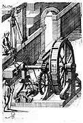 Raising slabs of stone using block-and-tackle powered by man in treadmill, A. Through tooth and pinion, C,B., worm and pinion, E,D. From German edition of Atostino Ramelli' Le diverse et artificiose machine', published 1620.
