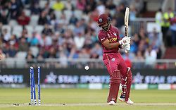West Indies Shai Hope is bowled by New Zealand's Trent Boult during the ICC Cricket World Cup group stage match at Old Trafford, Manchester.