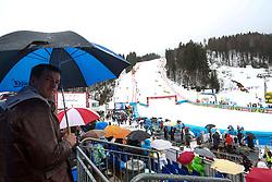 Fan with umbrella and view on the track during the 1st Run of Men's Slalom - Pokal Vitranc 2013 of FIS Alpine Ski World Cup 2012/2013, on March 10, 2013 in Vitranc, Kranjska Gora, Slovenia.  (Photo By Matic Klansek Velej / Sportida.com)