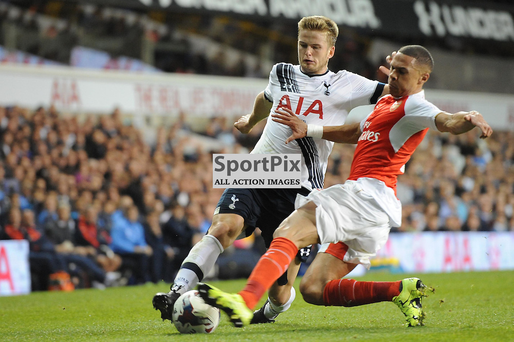 Tottenhams Eric Dier and Arsenals Kieran Gibbs in action during the Capital One Cup third round tie between Tottenham and Arsenal on 23rd September 2015