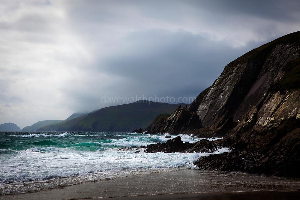 View of the Blasket Islands from Coumeenoole Beach, Slea Head, Dingle Peninsula, Kerry, Ireland