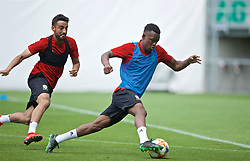 BUDAPEST, HUNGARY - Monday, June 10, 2019: Wales' Neil Taylor (L) and Rabbi Matondo during a training session ahead of the UEFA Euro 2020 Qualifying Group E match between Hungary and Wales at the Ferencváros Stadion. (Pic by David Rawcliffe/Propaganda)