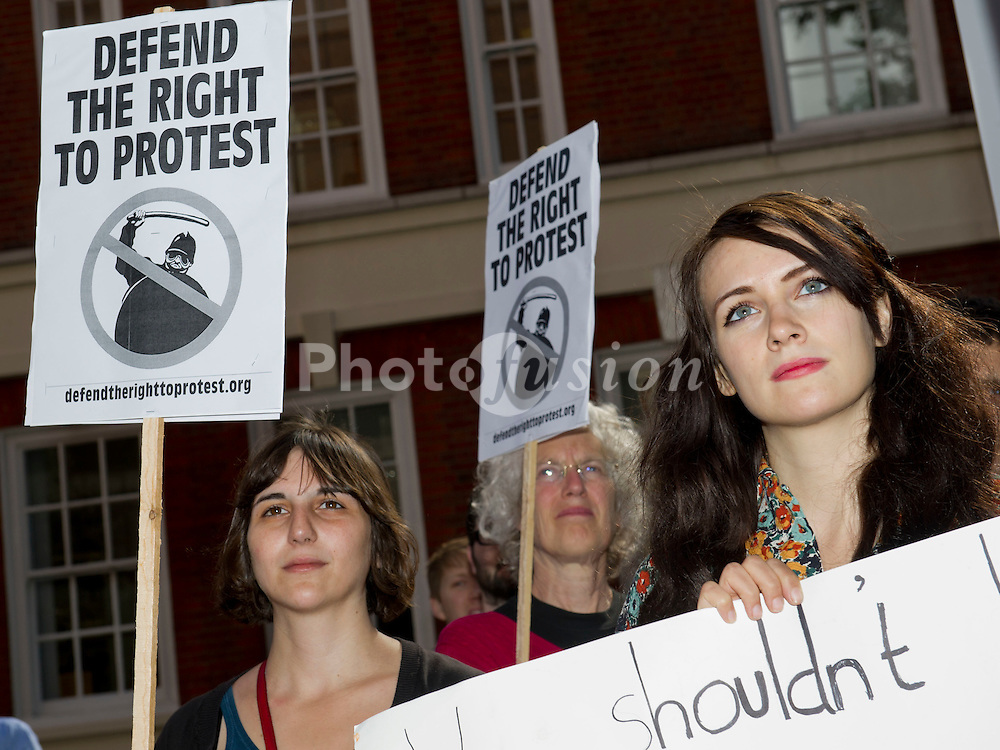 Fiona Jane Kelloway and other supporters of UKUncut gather outside Westminster Magistrates Courts as the first of their members arrested at Fortnum & Masons attend their hearings inside.  These are all postponed till September. Horseferry Road, London, 9 May 2011.