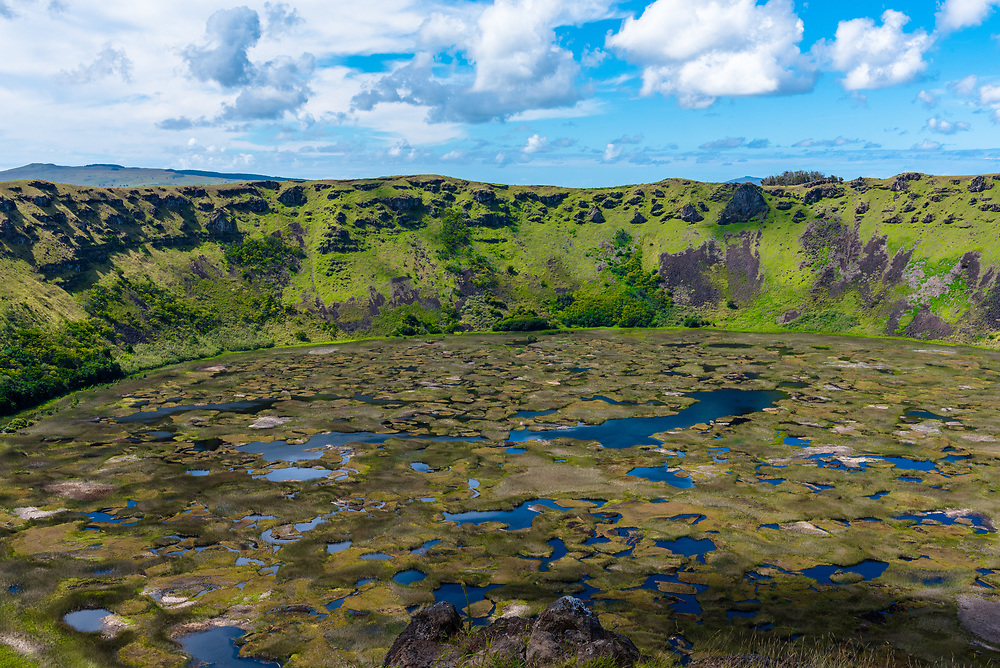 Looking down at the lake inside the Rano Kau volcano crater on Easter Island.