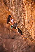 "Jacinda (JC) Hunter climbing ""Sniffing Glue,"" 13d, Black and Tan Crag, St. George, Utah."