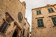 Street corner and window shutters in old town Dubrovnik, Dalmatian Coast, Croatia