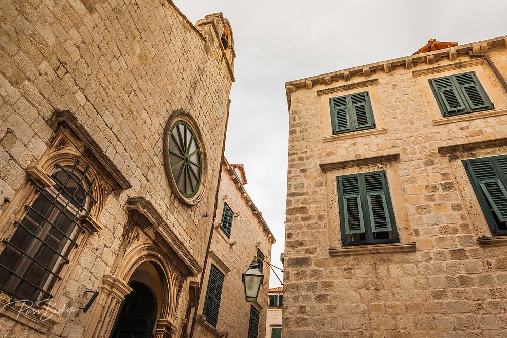 Street corner and window shutters in old town Dubrovnik, Dalmatian Coast, Croatia