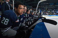 KELOWNA, CANADA - APRIL 3: Keegan Kolesar #28 of the Seattle Thunderbirds sits on the bench against the Kelowna Rockets on April 3, 2014 during Game 1 of the second round of WHL Playoffs at Prospera Place in Kelowna, British Columbia, Canada.   (Photo by Marissa Baecker/Getty Images)  *** Local Caption *** Keegan Kolesar;