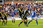 Carlisle United Defender Michael Raynes attacks the cross during the Sky Bet League 2 match between Carlisle United and Morecambe at Brunton Park, Carlisle, England on 10 October 2015. Photo by Craig McAllister.