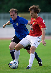 Sergei Kazakov vs Damjan Trifkovic of Rudar at 1st Round of Europe League football match between NK Rudar Velenje (Slovenia) and Trans Narva (Estonia), on July 9 2009, in Velenje, Slovenia. Rudar won 3:1 and qualified to 2nd Round. (Photo by Vid Ponikvar / Sportida)