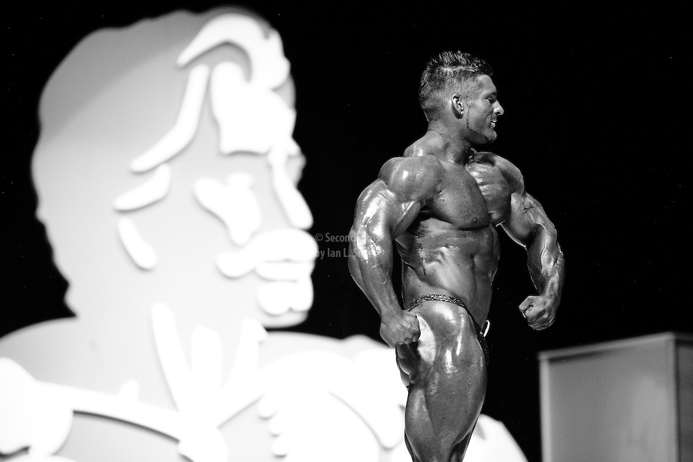 James Flex Lewis on stage at the finals for the 2009 Olympia 202 competition in Las Vegas.