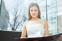 Businesswoman reading file in office