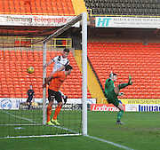 Dundee's Kerr Waddell hits the outside of the post with a close range header - Dundee United v Dundee under19s - Little Big Shot Scottish Youth Cup at Tannadice<br /> <br />  - &copy; David Young - www.davidyoungphoto.co.uk - email: davidyoungphoto@gmail.com