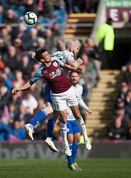 Jack Cork of Burnley (L) and Aron Gunnarsson of Cardiff City in action - Mandatory by-line: Jack Phillips/JMP - 13/04/2019 - FOOTBALL - Turf Moor - Burnley, England - Burnley v Cardiff City - English Premier League