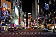 USA, NY, New york city, Manhattan, renaissance hotel Times Square at night