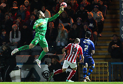 Stoke City's Jack Butland catches the ball - Photo mandatory by-line: Matt McNulty/JMP - Mobile: 07966 386802 - 26/01/2015 - SPORT - Football - Rochdale - Spotland Stadium - Rochdale v Stoke City - FA Cup Fourth Round