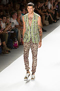 Men's print pants and print vest. By Custo Barcelona at the Spring 2013 Fashion Week show in New York.