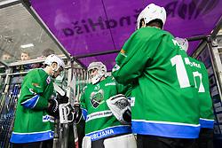 Robert Kristan of HK SZ Olimpija during ice hockey match between HK SZ Olimpija and HDD SIJ Acroni Jesenice in AHL - Alps Hockey League 2017/18, on October 25, 2017 in Hala Tivoli, Ljubljana, Slovenia. Photo by Matic Klansek Velej / Sportida