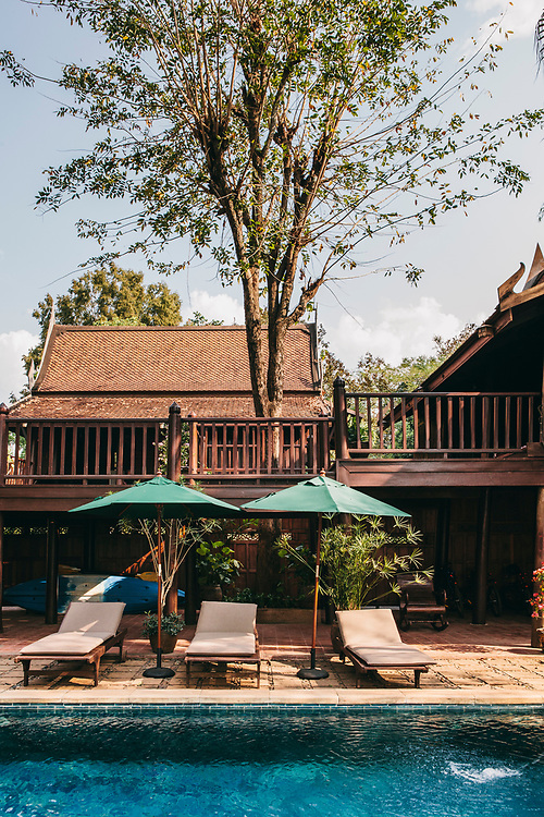 Traditional teak wood villas at Mekong Villas