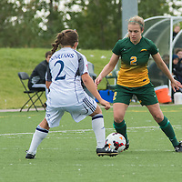 2nd year forward Kirsten Finley (2) of the Regina Cougars during the Women's Soccer home game on September 11 at U of R Field. Credit: Arthur Ward/Arthur Images