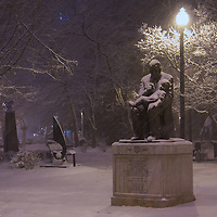 Snow falls in Krutch Park in downtown Knoxville, Tennessee on February 12, 2014.