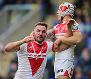 Luke Douglas of St Helens celebrates scoring the try against Warrington Wolves during the Betfred Super League Super 8s match at the Halliwell Jones Stadium, Warrington<br /> Picture by Stephen Gaunt/Focus Images Ltd +447904 833202<br /> 22/09/2018