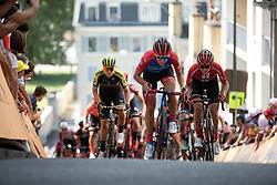 Janneke Ensing (NED) of WNT Rotor Pro Cycling digs deep on La Course by Le Tour de France, a 121 km road race starting and finishing in Pau, France on July 19, 2019. Photo by Balint Hamvas/velofocus.com