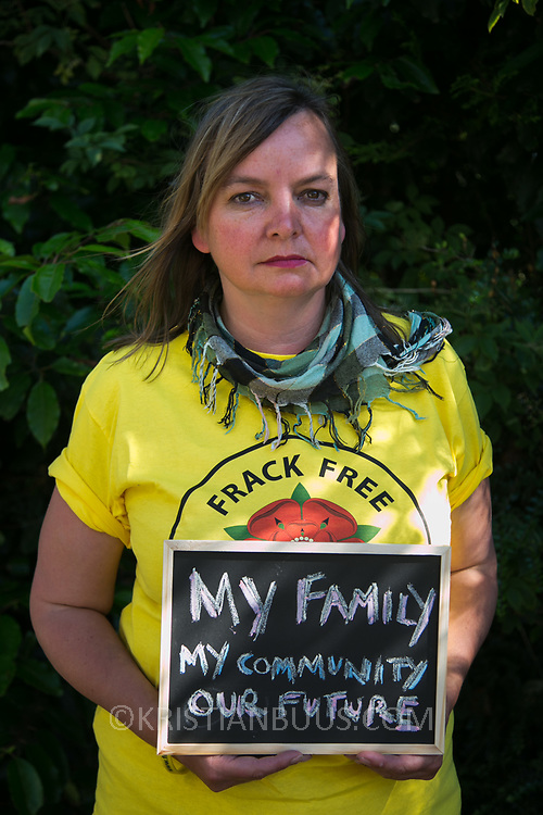 Miranda Cox, Kirkham councillor. 13 anti-fracking activists, climate protectors, the day before doing a joint lock-on outside Quadrilla's drill site in New Preston Road, Lancashire. The campaign against the drilling for shale gas has been going for years and since January 2017 many have taken to block the gates to deny Quadrilla being able to drill. Fracking was rejected by Lancashire County council in 2015 but were overruled by central Conservative government and locals are fighting to stop the drilling and reverse the decision.