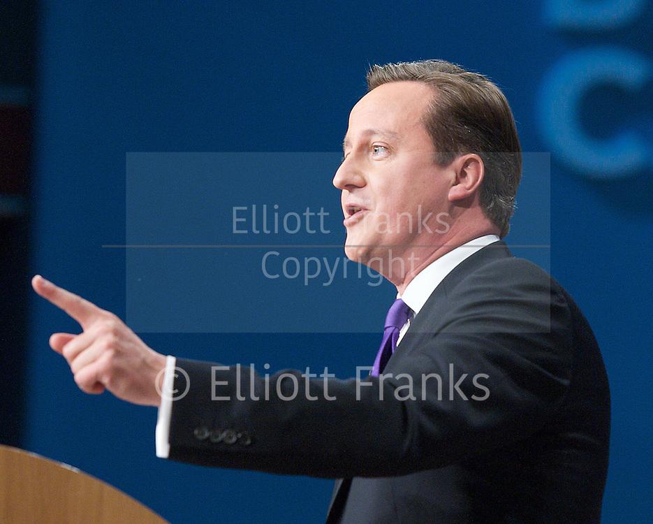 Conservative Party Conference, ICC, Birmingham, Great Britain <br /> 10th October 2012 <br />  Day 4<br /> <br /> Rt Hon David Cameron MP <br /> Prime minister <br /> keynote speech <br /> <br /> <br /> <br /> Photograph by Elliott Franks<br /> <br /> United Kingdom<br /> Tel 07802 537 220 <br /> elliott@elliottfranks.com<br /> <br /> &copy;2012 Elliott Franks<br /> Agency space rates apply