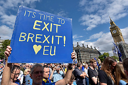 © Licensed to London News Pictures. 09/09/2017. London, UK. An Anti-Brexit protester holds up a sign in Parliament Square during the People's March for Europe rally campaigning for the UK's continued membership of the European Union. Photo credit : Stephen Chung/LNP
