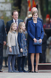 12.10.2015, Madrid, Madrid, ESP, Spanischer Nationalfeiertag, Royals, im Bild Princess Sofia of Spain, Princess Leonor of Spain and Queen Letizia of Spain // during the celebration of the Spanish National Day military parade in Madrid in Madrid, Spain on 2015/10/12. EXPA Pictures © 2015, PhotoCredit: EXPA/ Alterphotos/ Victor Blanco<br /> <br /> *****ATTENTION - OUT of ESP, SUI*****