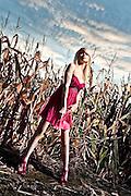 DETROIT, MICHIGAN - USA - Detroit singer Jennifer Westwood portrait in a cornfield. (Photo by Bryan Mitchell)
