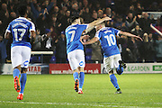 Peterborough United striker Paul Taylor (10) celebrates with Peterborough United midfielder Gwion Edwards (7) after scoring the third goal for Peterborough during the EFL Sky Bet League 1 match between Peterborough United and Chesterfield at London Road, Peterborough, England on 10 December 2016. Photo by Nigel Cole.