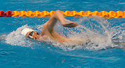 Shaun Burnett of the Harlequins team competes in the 16+ Men's 1500m Freestyle race during the Senior Zonal Championship at the Wellington Regional Aquatic Centre in Kilbirnie in Wellington on Friday the 4th of October 2013. Photo by Marty Melville/www.photosport.co.nz