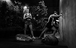 March 16, 2019 - Indian Wells, USA - Barbora Krejcikova & Katerina Siniakova of the Czech Republic on their way onto the court ahead of the doubles final of the 2019 BNP Paribas Open WTA Premier Mandatory tennis tournament (Credit Image: © AFP7 via ZUMA Wire)
