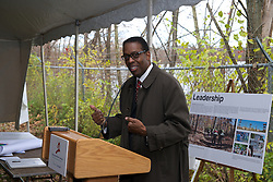 City Council President Darrell Clarke.  With a ceremonial singing of the lease Philadelphia Outward Bound School and Audubon Pennsylvania kick of the Discovery Center project in the East Fairmount Park section of the city. (Bas Slabbers/for Philadelphia Outward Bound School)