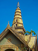 23 DECEMBER 2018 - CHANTABURI, THAILAND:  The roofline of Wat Klang in Chantaburi. Chantaburi is the capital city of Chantaburi province on the Chantaburi River. Because of its relatively well preserved tradition architecture and internationally famous gem market, Chantaburi is a popular weekend destination for Thai tourists.   PHOTO BY JACK KURTZ