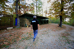 ROMANIA ZARNESTI 27OCT12 - Victor Watkins, WSPA wildlife consultant visits the quarantine area at the Zarnesti Bear Sanctuary in Romania, funded by WSPA...With over 160 acres (70 hectares) spread over a wooded hillside, it is Romania's first bear sanctuary and today houses 67 bears rescued from ramshackle zoos and cages at roadside restaurants.......jre/Photo by Jiri Rezac / WSPA..© Jiri Rezac 2012