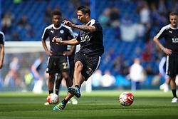 Leonardo Ulloa of Leicester City warms up - Mandatory byline: Jason Brown/JMP - 15/05/2016 - FOOTBALL - London, Stamford Bridge - Chelsea v Leicester City - Barclays Premier League