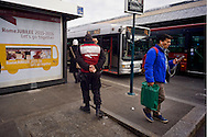Roma 3 Dicembre 2015<br /> Giubileo, i nuovi biglietti dell'Atac per i pellegrini.<br /> Presentati i biglietti Atac da collezione per il Giubileo, con una serie speciale di quattro BIT raffiguranti Papa Francesco e contenuti in una custodia souvenir. Presentata anche  anche la RomeJubilee, la card in tiratura limitata con l'immagine del Pontefice,che consentirà agli acquirenti di caricare tutta l'offerta turistica di Atac, dal ticket giornaliero a quello settimanale. Nella foto: Agenti della sicurezza dell'Atac, controllano le fermate degli autobus in piazza dei Cinquecento.<br /> Rome December 3, 2015<br /> Jubilee, the new ATAC tickets for pilgrims.<br /> Presented  collectible tickets Atac  (Tramways Company and Coach of the Municipality of Rome) for the Jubilee, with a special series of four BIT depicting Pope Francis and contained in a case souvenirs. Also presented also RomeJubilee, the limited edition card with the image of the Pope, which allow buyers to load all the tourist offer of Atac, from ticket daily to weekly. Pictured: Security agents ATAC, control the bus stops in Piazza dei Cinquecento.