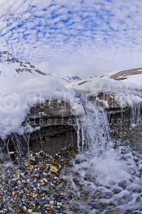 Alberto Carrera, Arctic Lands, Snow Waterfall, Trygghamna Bay, Oscar II Land, Arctic, Spitsbergen, Svalbard, Norway, Europe