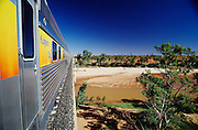 The Ghan crossing Finke River which usually doesn?t have any water at all.